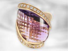 Ring: italienischer Designerring mit großem Amethyst und Brillanten, 18K Roségold, Superoro ItalyCa.