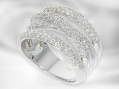 Ring: moderner attraktiver Pavéring mit Brillanten, ca. 1ct, 18K Weißgold