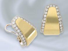 Ohrschmuck: hochwertige, handgefertigte Bicolor/Brillant-Goldschmiedeohrringe, feine Handarbeit