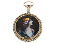 Taschenuhr: goldene Spindeluhr mit Perlenbesatz und Emaille-Malerei, bedeutender Uhrmacher,