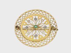 Brosche/Nadel: ausgesprochen schöne antike Brosche, besetzt mit Smaragd und Diamanten, vermutlich