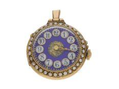 Taschenuhr/Anhängeuhr: außergewöhnliche Gold/Emaille-Damenuhr mit Perlen- und Diamantbesatz, Paul