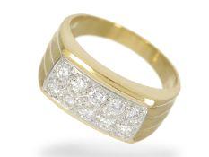 Ring: breiter Brillant-Goldschmiedering , ca. 0,6ct