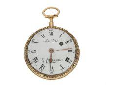 Taschenuhr: mehrfarbige 18K Gold Spindeluhr, signiert Des Arts & Compagnie, Genf ca. 1780
