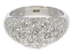 Ring: dekorativer, wertvoller Bandring mit Brillanten und Diamantrosen, insgesamt ca. 1,7ct, 18K