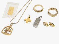 Anhänger/Ohrschmuck/Collier: Konvolut vintage Goldschmuck sowie Goldbarren/Silberbarren