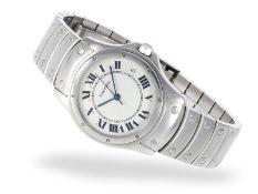 Armbanduhr: luxuriöse und gesuchte Cartier Herrenuhr, Cartier Santos Ronde Automatic, Ref.1920-1,