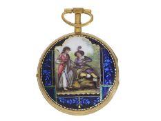 Taschenuhr: sehr schöne, große Spindeluhr mit Emaillemalerei, Duchene et Compagnie, Genf um