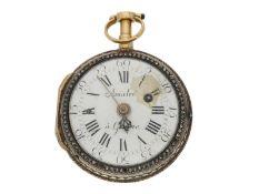 Taschenuhr: goldene Genfer Relief-Spindeluhr mit Diamantbesatz und Repetition auf Glocke, Abraham
