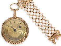 Taschenuhr: prächtige rotgoldene Louis XV Prunk-Spindeluhr mit Repetition a toc und dazugehöriger