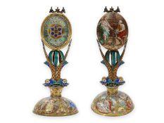 Tischuhr: dekorative Wiener Emailleuhr in Palmenform, ca.1800