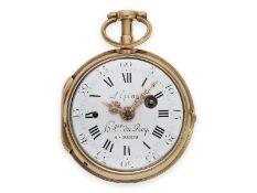 Taschenuhr: hochfeine goldene Louis XV Spindeluhr mit Repetition a toc et a tact, signiert L'Epine