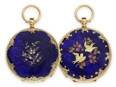 Taschenuhr: wunderschöne Gold/Emaille-Savonnette im Stil der frühen Uhren von Patek & Czapek, Genf