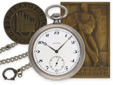 Taschenuhr: gesuchte Longines Schützenuhr Tir Federal Fribourg 1934 mit Silberkette und 2