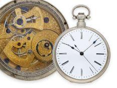 Taschenuhr: große Taschenuhr mit Duplexhemmung und springender Zentralsekunde, Fleurier für den