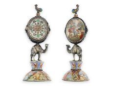Tischuhr: große emaillierte Tischuhr, um 1800, seltene Wiener Figurenuhr in Silber
