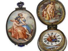 Taschenuhr/Halsuhr: hochfeine, außergewöhnlich große Wiener Halsuhr mit insgesamt 5 Gemälden,