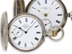 Taschenuhr: interessantes Ensemble von Dent, königlicher Uhrmacher in London, 2 silberne