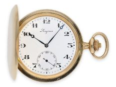 Taschenuhr: qualitätsvolle Goldsavonnette der Marke Longines, Ankerchronometer Kaliber 19.80, ca.