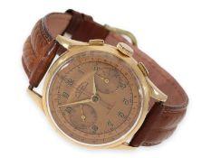 """Armbanduhr: rotgoldener """"oversize"""" Chronograph mit sehr schönem """"Salmon""""-Zifferblatt und rotem"""