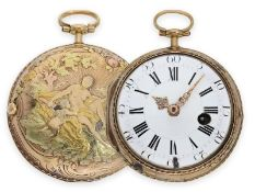 Taschenuhr: prächtige, große 4-Farben Louis XV Gold-Spindeluhr mit mythologischer Szene, bedeutender