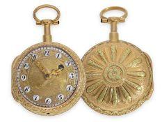 Taschenuhr: Prunkspindeluhr mit Repetition und mehrfarbigem Goldgehäuse, Grignon a Paris No.801, ca.