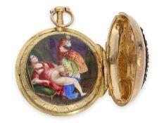Taschenuhr: Rarität, außergewöhnlich frühe goldene Spindeluhr mit versteckter erotischer Emaille-