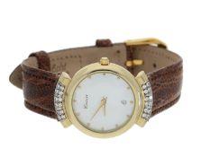 Armbanduhr: elegante Damenuhr aus dem Hause Groisier, 14K Gold mit Brillanten