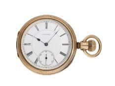 Taschenuhr: sehr frühe Longines Taschenuhr mit Prunkgehäuse, gefertigt für den amerikanischen Markt,