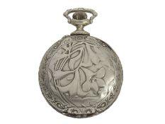 Taschenuhr: Longines Jugendstil-Reliefuhr mit Doppelsignatur, gefertigt für Nazib K.Djezvedjian &