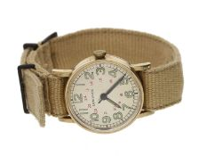 Armbanduhr: interessante, möglicherweise militärische Herrenuhr mit Zentralsekunde, Longines 40er-