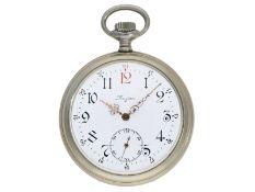 Taschenuhr: außergewöhnliche Longines Jugendstil-Herrentaschenuhr mit Reliefgehäuse, Uhrenkette