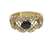 Ring: sehr schöner und ausgefallener Saphir/Brillant-Goldschmiedering, 18K Gold
