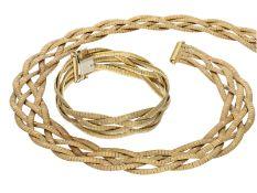 Kette/Collier/Armband: besonders schweres vintage Goldschmiede-Set von hoher Qualität, 18K