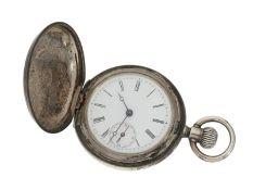 Taschenuhr: frühe Silbersavonnette, Longines Kaliber 15LS, ca. 1883