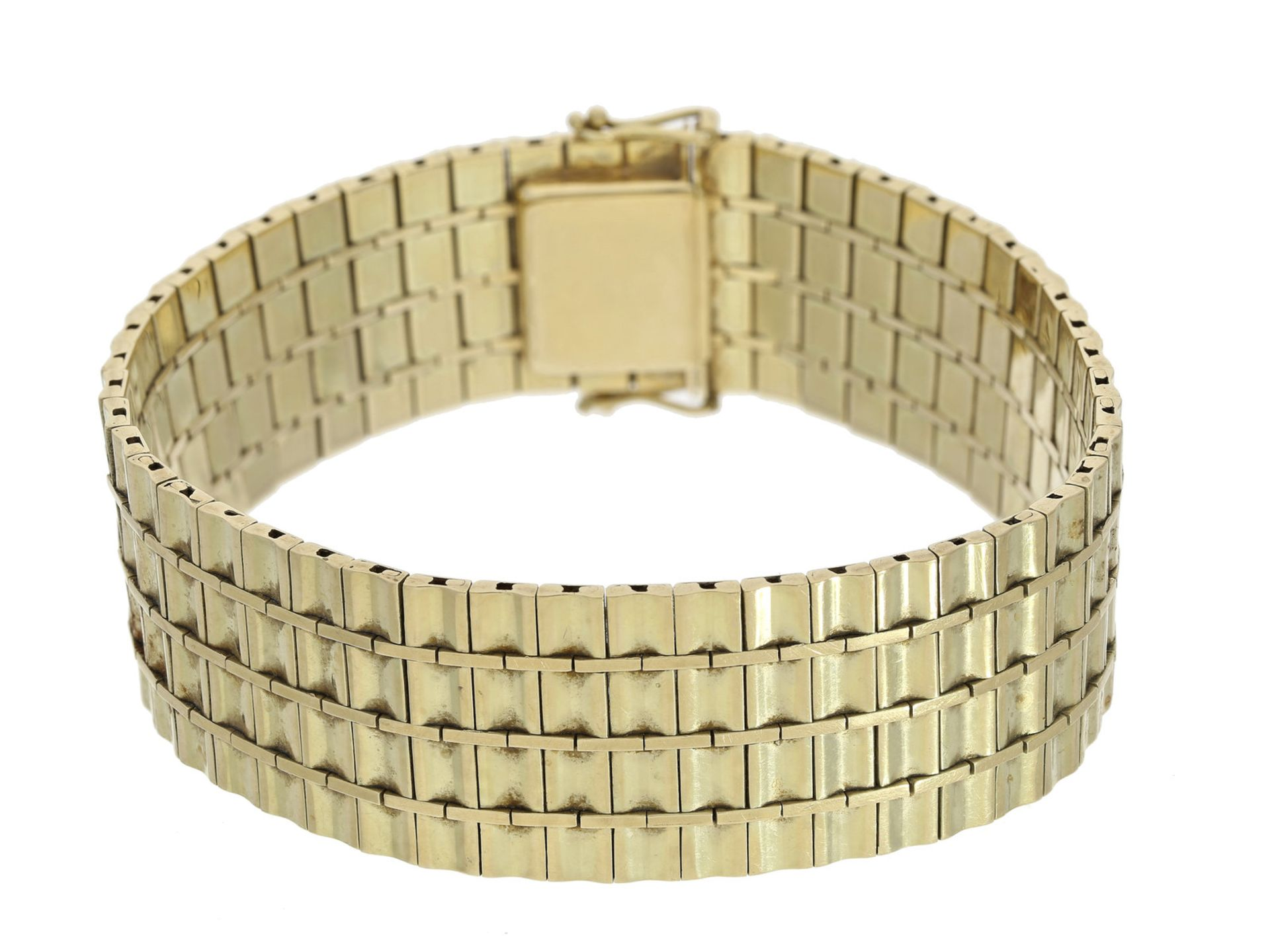 Armband: breites und dekorativ gefertigtes vintage Goldschmiedearmband, Handarbeit, 14K Gold Ca.