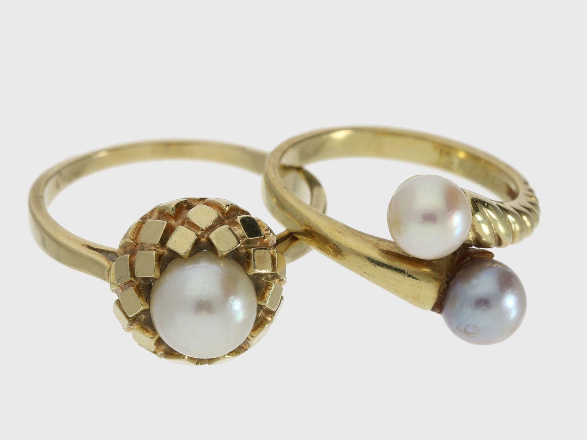 Ring: 2 interessant gestaltete vintage Goldschmiederinge mit Zuchtperlen 1. ca. Ø19mm, RG60, ca. 6,