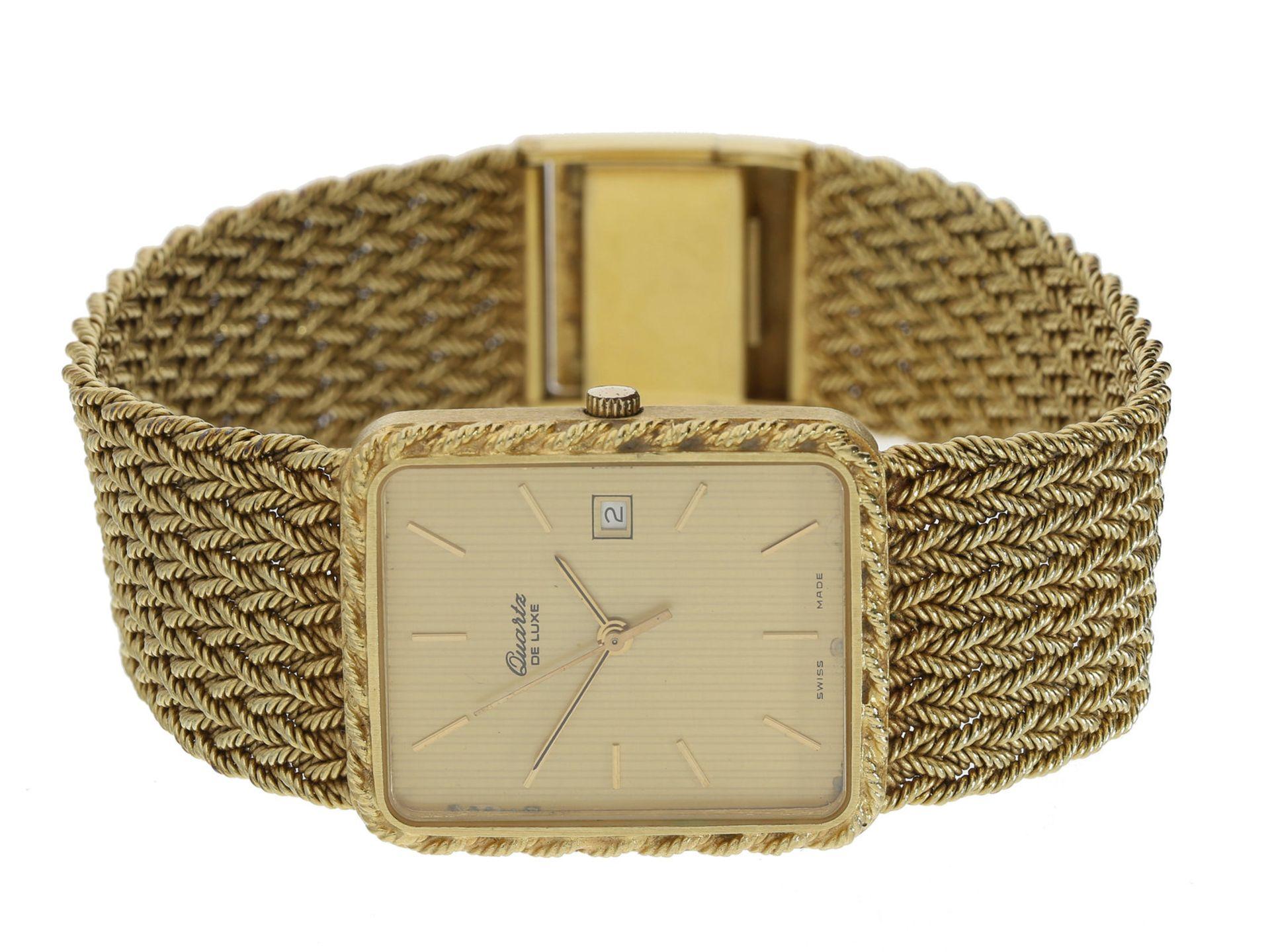 """Armbanduhr: elegante, hochwertige vintage Herrenarmbanduhr der Marke """"De Luxe"""", vermutlich 80er-"""