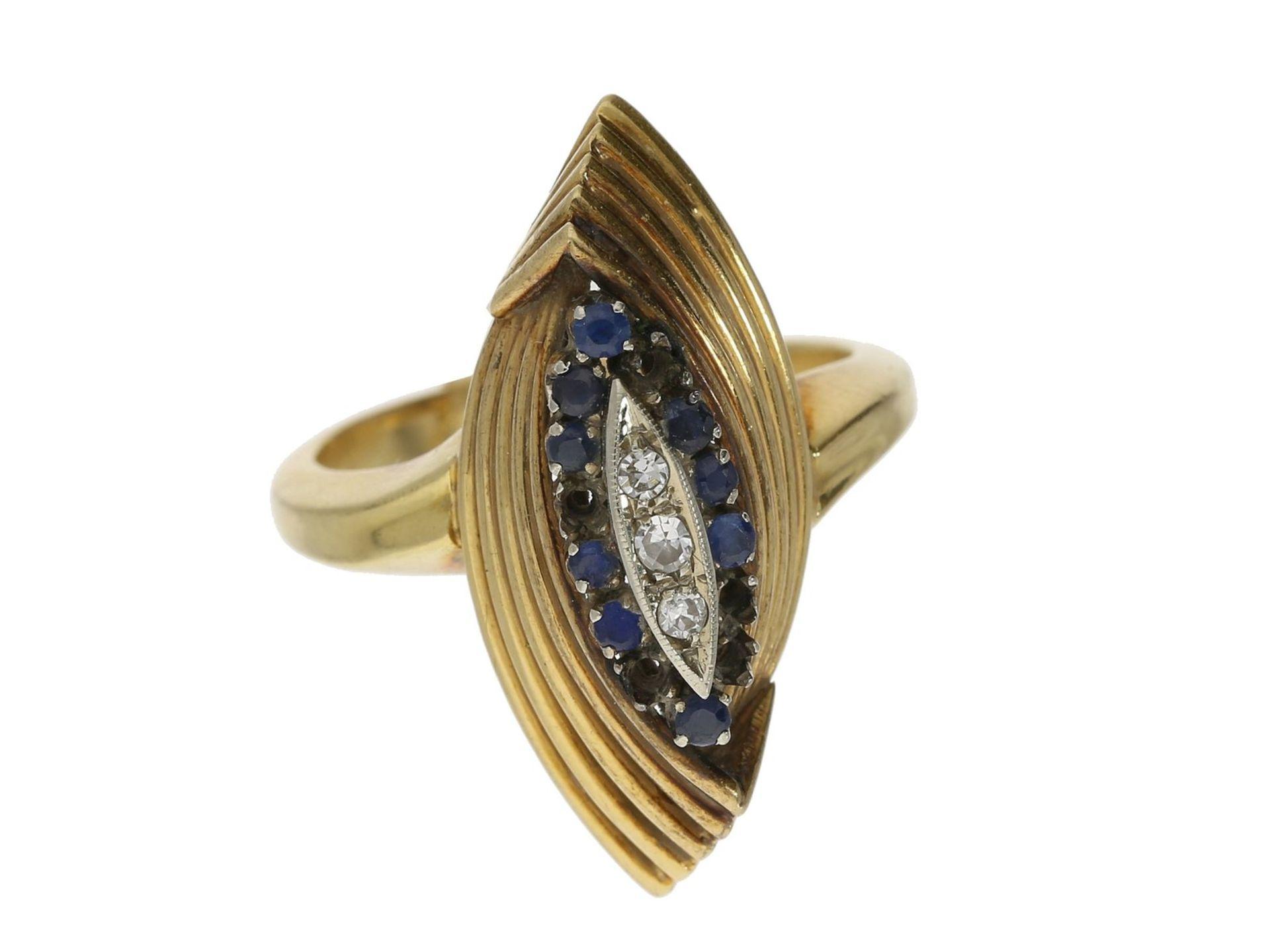 Ring: attraktiver vintage Ring mit Diamanten und blauen Farbsteinen, 18K Gelbgold Ca. Ø18mm, RG57,