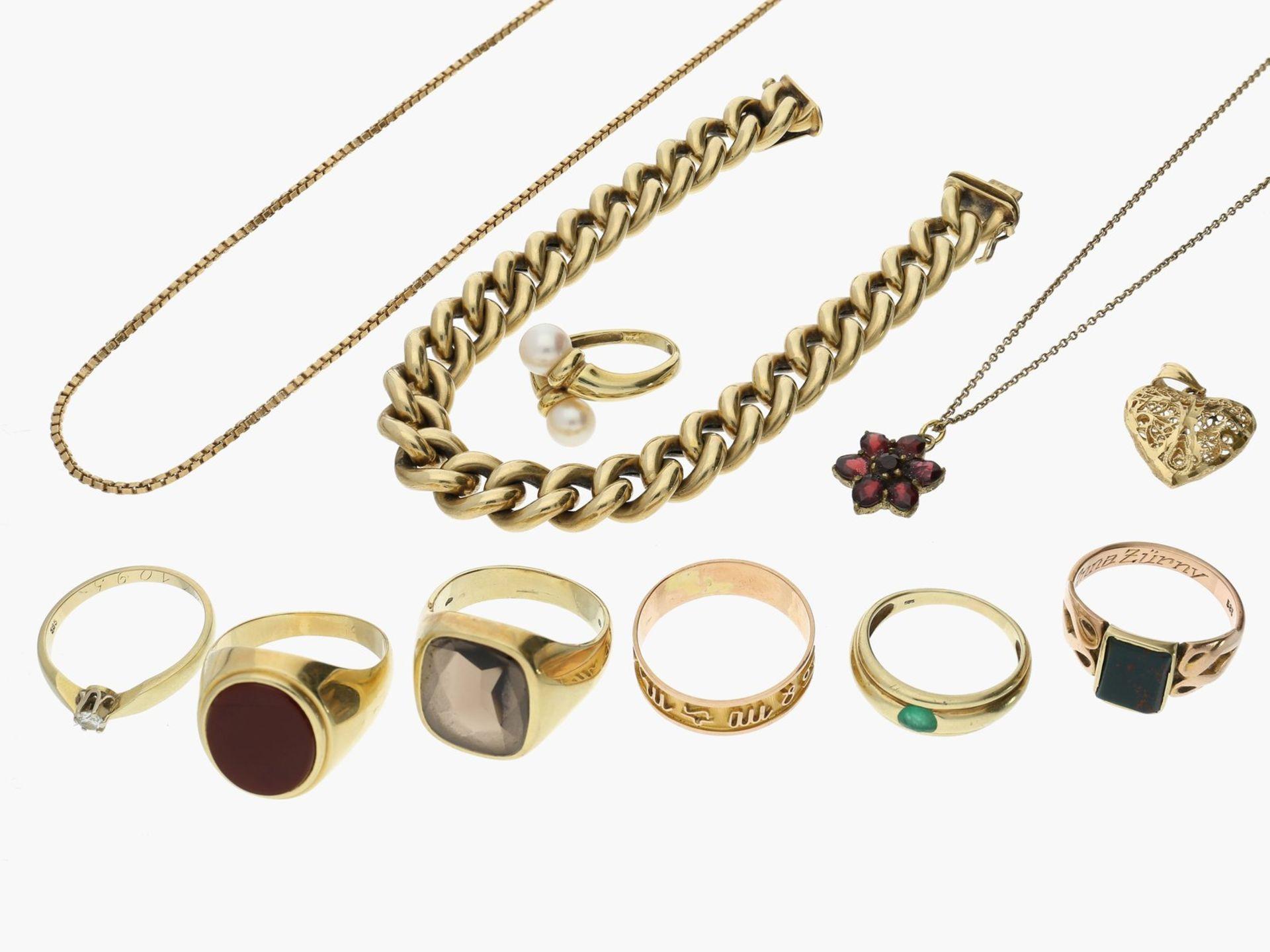Ring/Anhänger/Armband/Kette: Konvolut vintage Goldschmuck, 14K Gold Konvolut bestehend aus 7