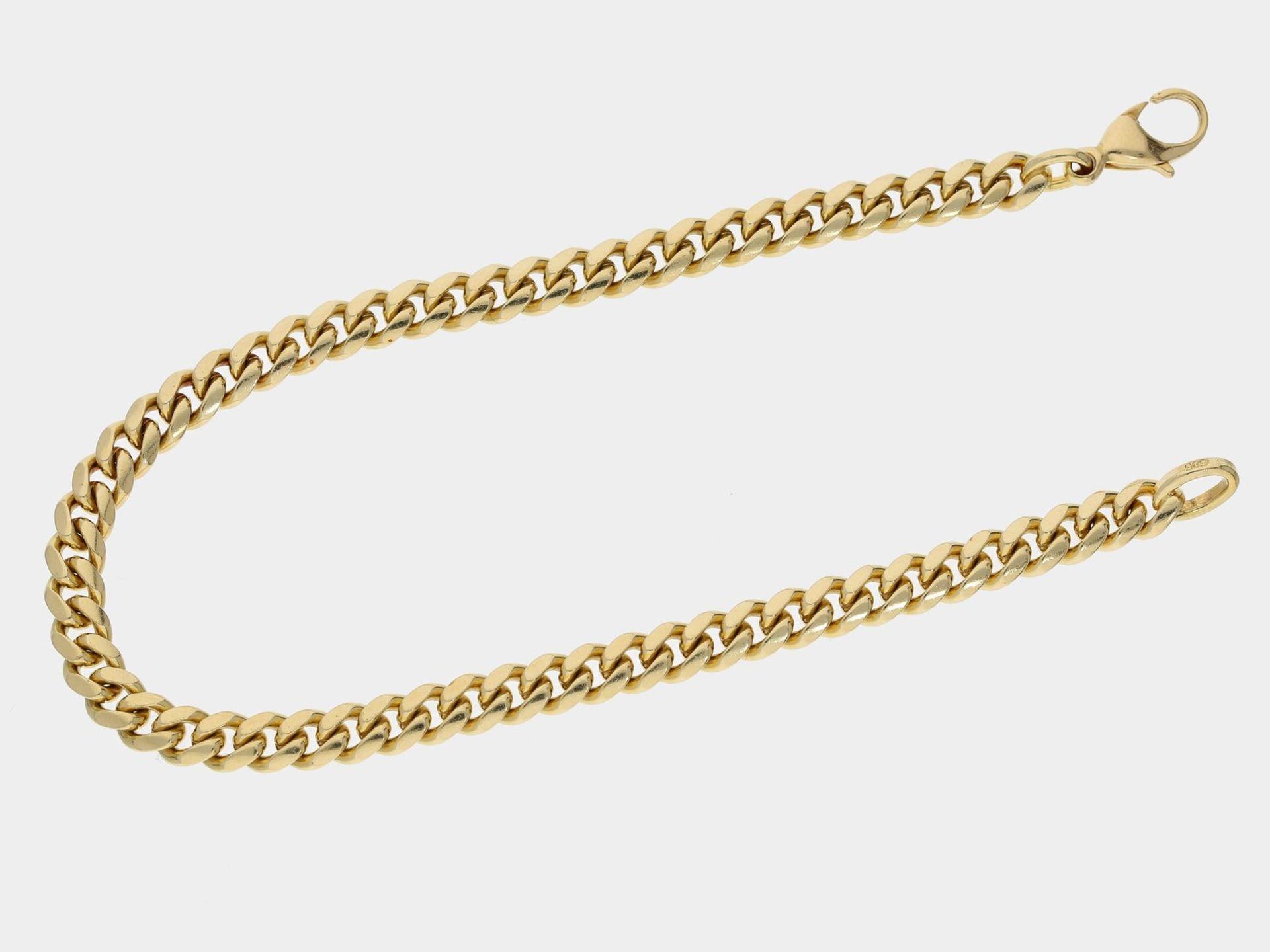 Armband: massives goldenes Panzerarmband, 14K Gelbgold Ca. 21,5cm lang, ca. 5mm breit, ca. 17,1g,
