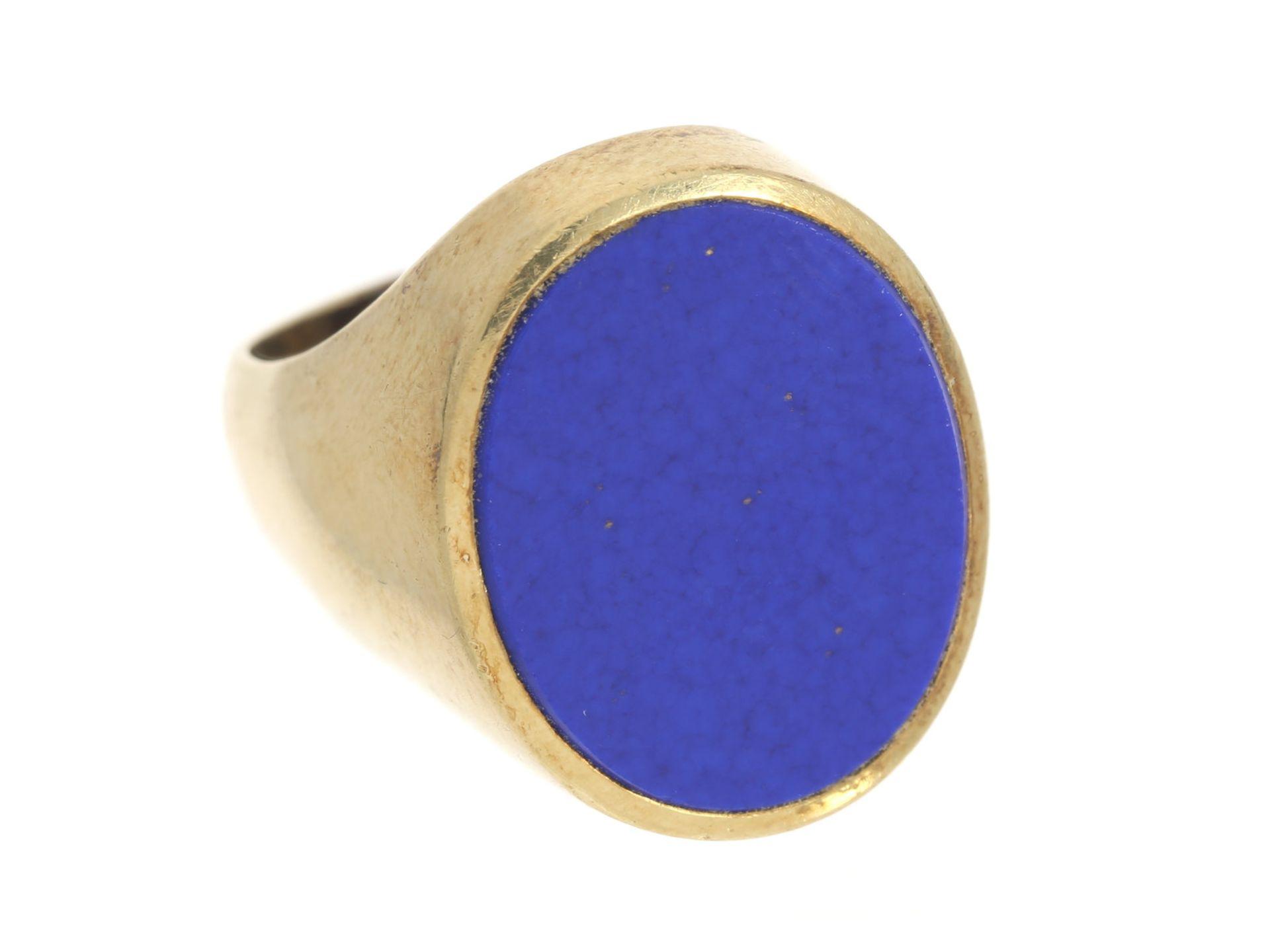 Ring: massiver vintage Siegelring mit Lapislazuli, 14K Gold Ca. Ø17,5mm, RG55, ca. 12,1g, 14K Gold,