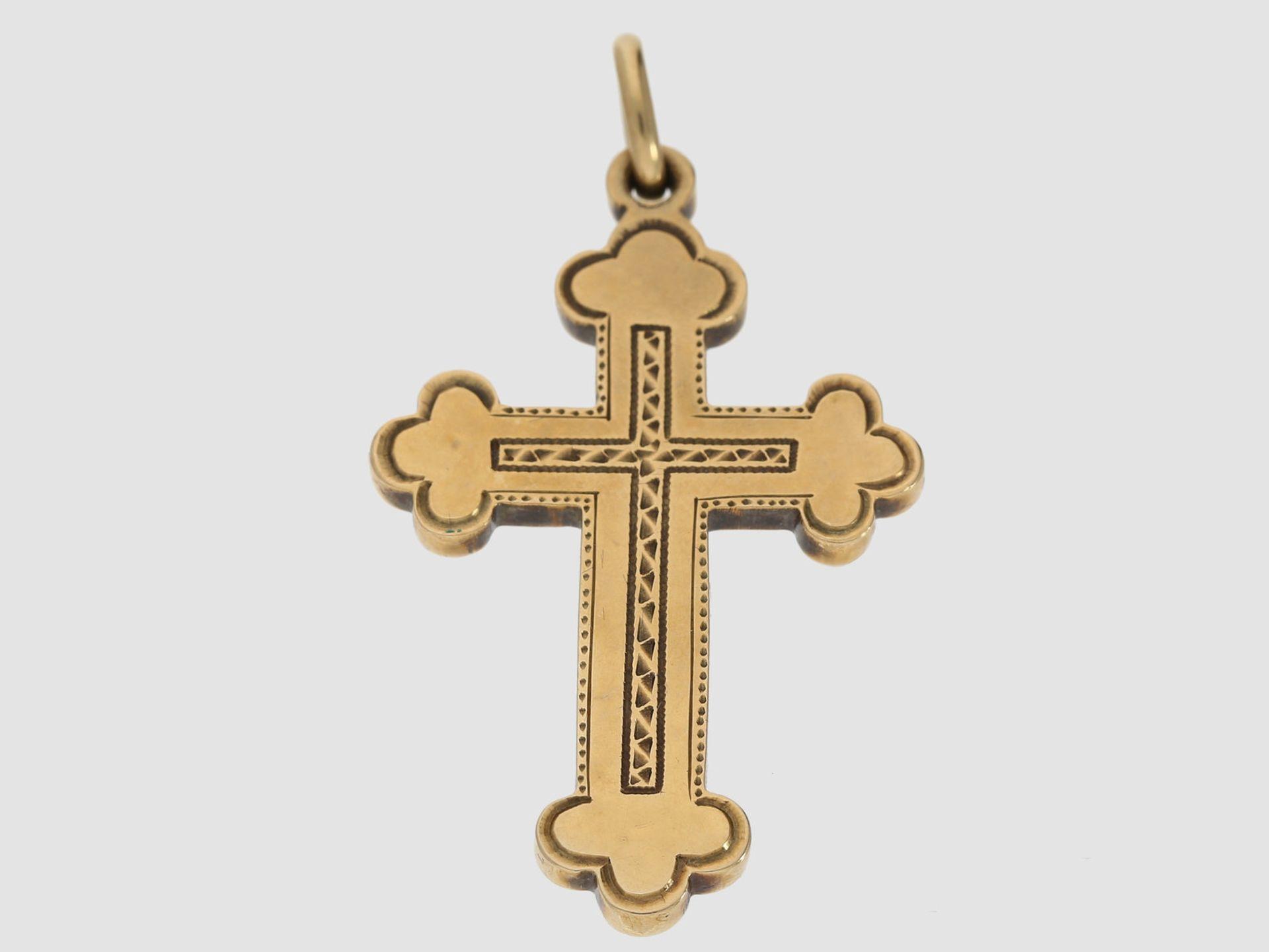 Anhänger: antiker massiver russischer Kreuzanhänger, 14K Gold, 19. Jahrhundert Ca. 45,5 x 25,5mm,