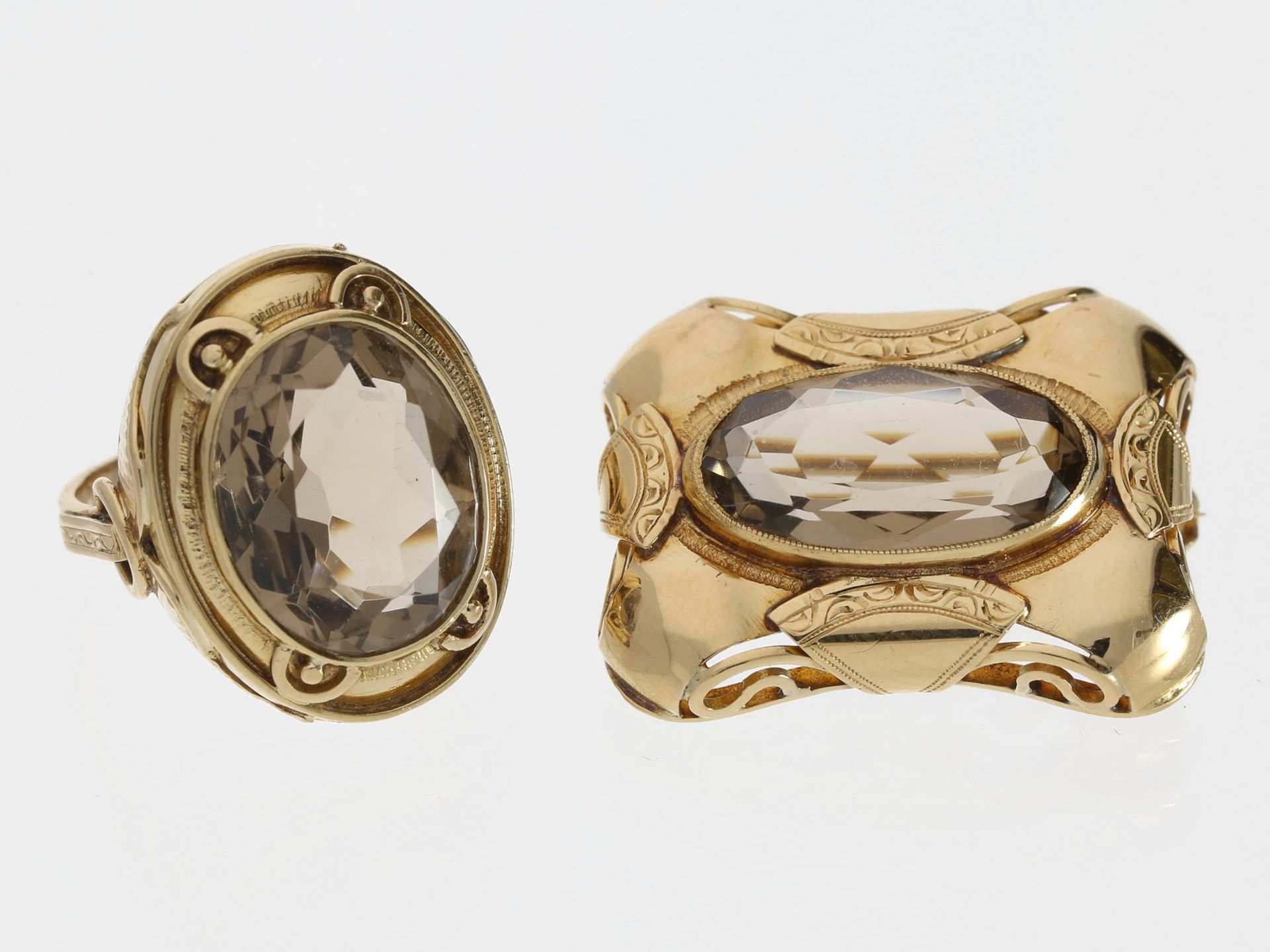 Ring/Anhänger: sehr schönes antikes Schmuckset aus Rauchquarzring und -anhänger, 14K Gold 1. Ring