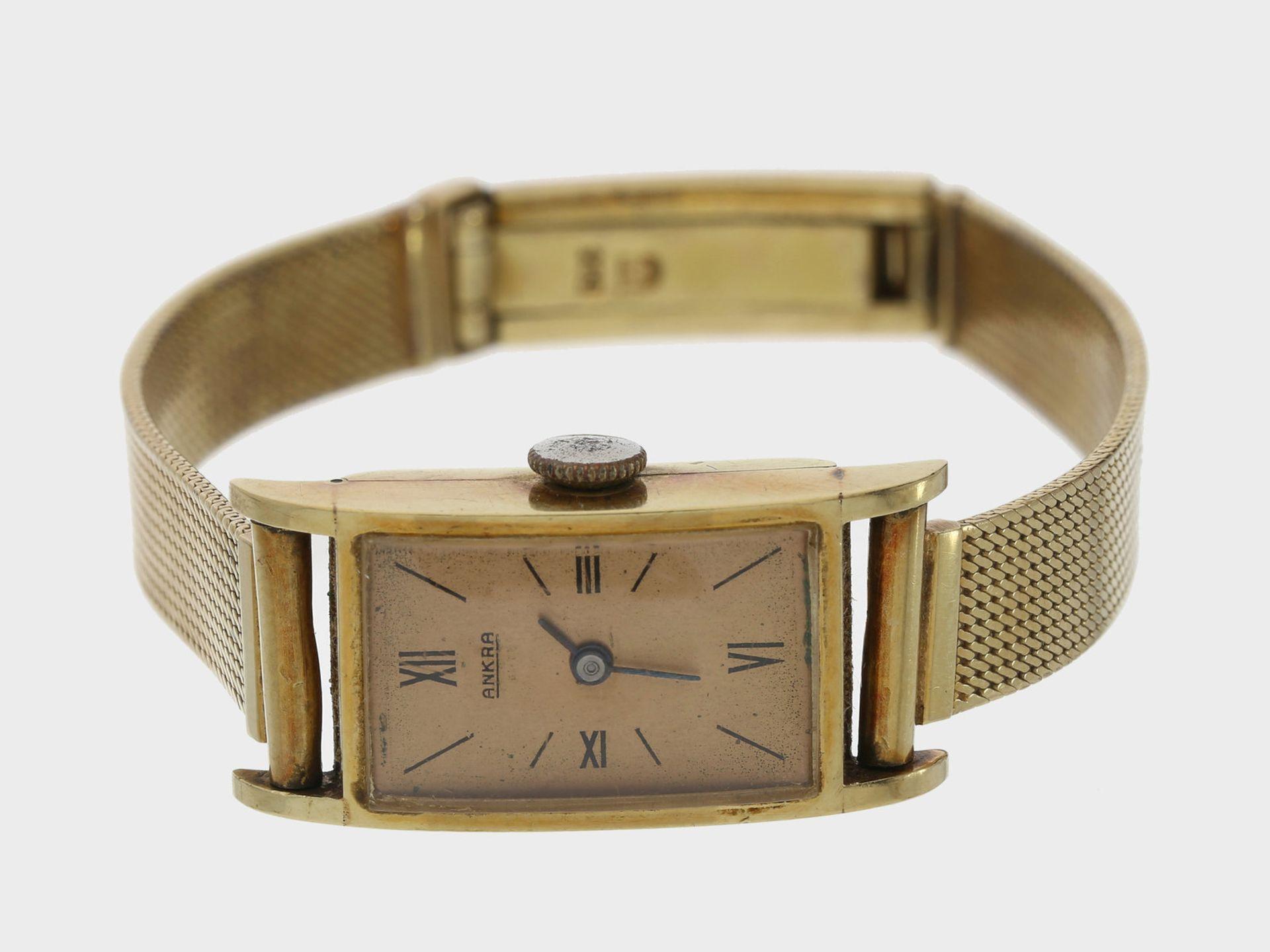Armbanduhr: 14K goldene Damenuhr der Marke Ankra, vintage Ca. 17cm lang, Gehäuse ca. 21 x 14mm, ca.