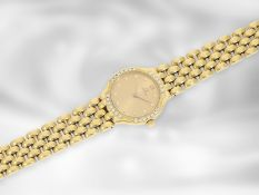 "Armbanduhr: goldene vintage Damenuhr mit Brillantbesatz, ""Omega De Ville"", 18K Gold Ca. Ø23mm, ca."