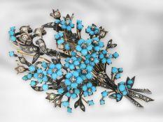 Brosche/Nadel: sehr schöne antike Türkisbrosche mit Diamantbesatz, 14K Gold und Silber, Mitte 19.