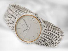 Armbanduhr: weißgoldene, elegante vintage Herrenarmbanduhr von Omega, Quarzwerk Kaliber 1332, 18K