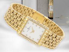 Armbanduhr: elegante, goldene vintage Baume & Mercier Damenuhr mit Diamant-Lünette, 18K Gold, mit