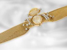 Armbanduhr: goldene, ausgefallene und sehr aufwändig gearbeitete vintage Cocktailuhr mit